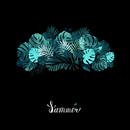 Banner with green tropical palm and monstera leaves on the black background. White lettering on the summer poster. Illustration