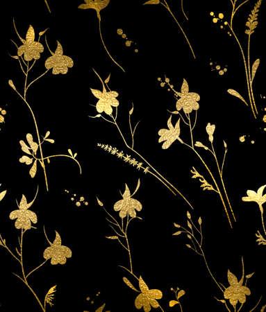 Naadloos gouden textuur bloemenpatroon op een zwarte achtergrond