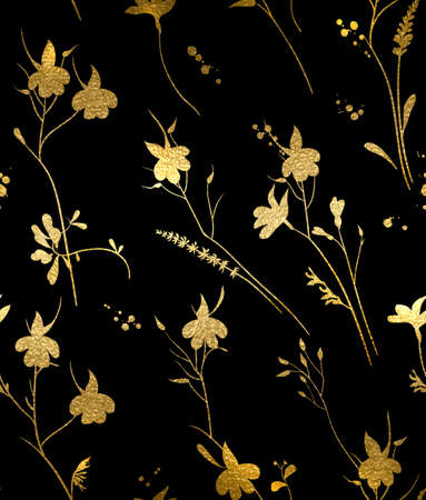 Seamless gold texture floral pattern on a black background