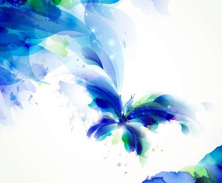 青とシアンのしみと抽象的なフライング バタフライ  イラスト・ベクター素材