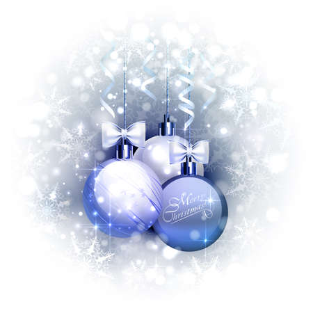 Holiday blue background with three Christmas baubles