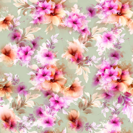 Repetitive pattern with pink and gray abstract flowers and decorative elements on light green-gray Illustration