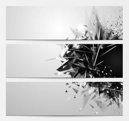 Geometric abstract backgrounds with black color futuristic elements. Set of three expressive monochrome banners for creative design.