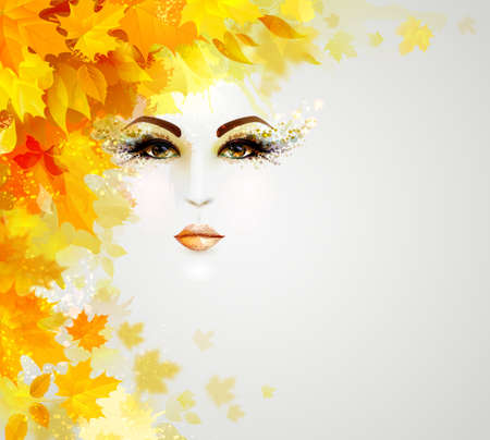 Beautiful woman face is in autumn circle of yellow and orange leaves on the light background. Иллюстрация