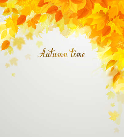 autumn banner on the light background decorated by color yellow, red hanging season leaves.