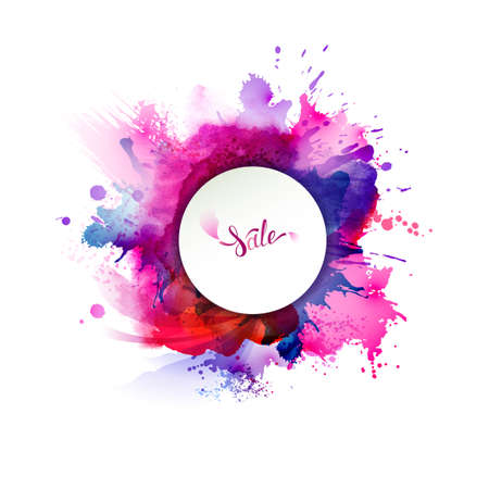 Purple, blue, lilac, red, magenta and pink watercolor stains bright color element for abstract.