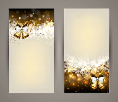 Shining Christmas greeting-cards with bells.