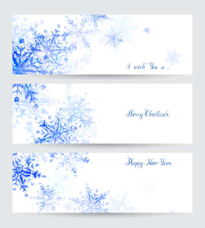 Three Winter headers with abstract blue snowflakes and holiday hand-drawn inscriptions.