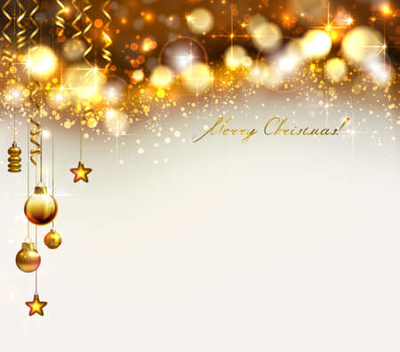Bright glimmered Christmas background with gold evening balls and baubles Illustration