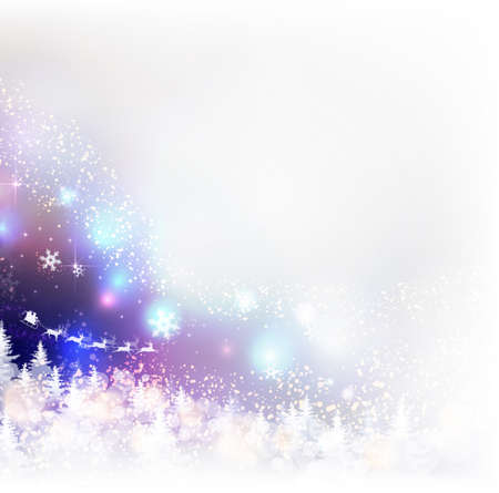 Santa Claus in a sleigh with ten deers sweeps over the winter forest. Merry Christmas light holiday background with place for text.