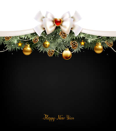 Festive Christmas balls, fir trees and cones on the Christmas backdrop.