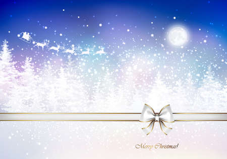 glimmered: Santa Claus in a sleigh sweeps over the winter forest. Holiday Christmas background. Illustration