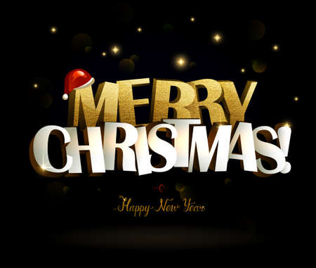 Merry Christmas and Happy New Year congratulation. Big bright inscription with gold texture letters on the black background.