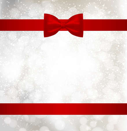 Light Christmas background with red holiday ribbon and snowflakes