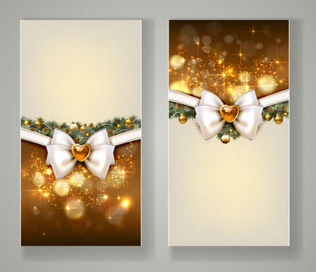 Two elegant Christmas greeting cards with balls, baubles, firtree, bow and jewelry.