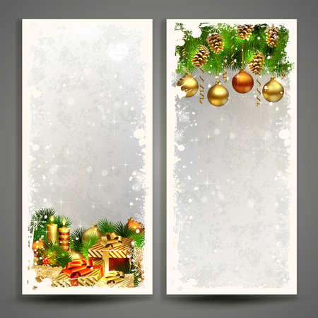 Two Christmas greeting cards with gifts, burning candles and pine cones. Illustration