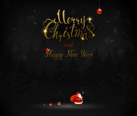 Merry Christmas and Happy New Year calligraphic gold texture inscription. Santa Claus goes through the dark night fir trees black forest with a bag of presents and gifts. Xmas greeting card with place for message.
