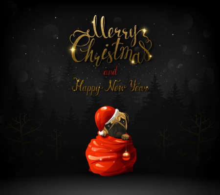 Merry Christmas and Happy New Year calligraphic gold texture inscription. Illustration