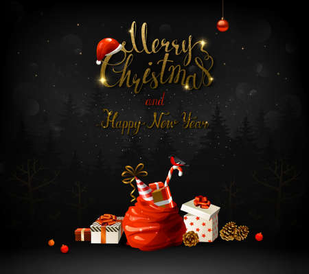 Merry Christmas and Happy New Year gold texture Illustration