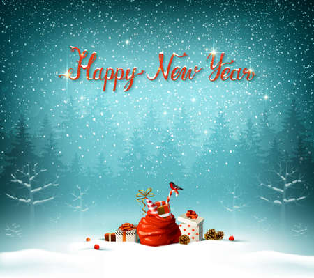 Happy New Year calligraphic in red inscription. Illustration