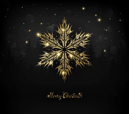 Shining gold texture snowflake on the dark Christmas.