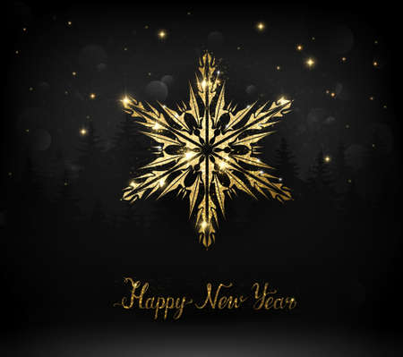 Shining gold texture snowflake on the dark Christmas background. 向量圖像