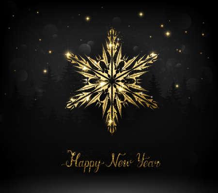 Shining gold texture snowflake on the dark Christmas background. Illustration