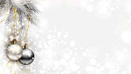 light Christmas background with two holiday evening balls and branch of fir tree
