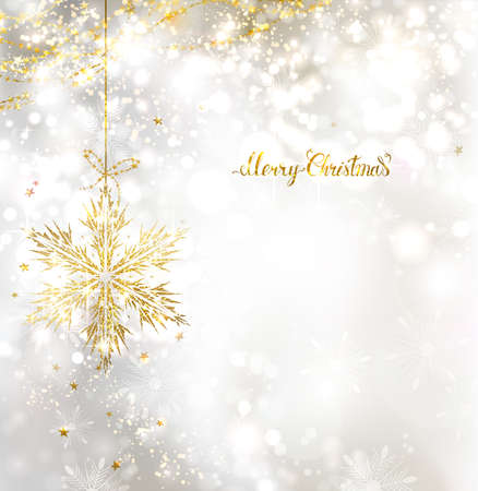 glimmered: light Christmas background with holiday gold snowflake Illustration