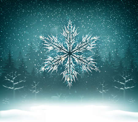 Shining white texture Snowflake on the blue forest landscape. Winter Holiday Christmas Background. 向量圖像