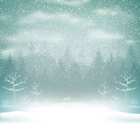 Snowfall in the winter forest landscape. Winter Holiday Christmas Background with fir trees. 向量圖像