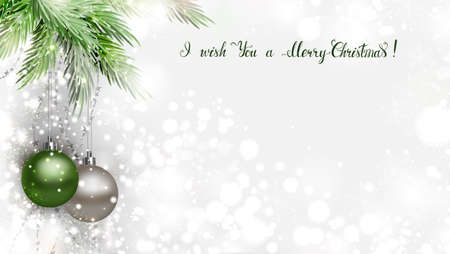 Light Christmas background with two holiday evening balls and branch of green fir tree with caligraphic congratulatory inscription. 向量圖像