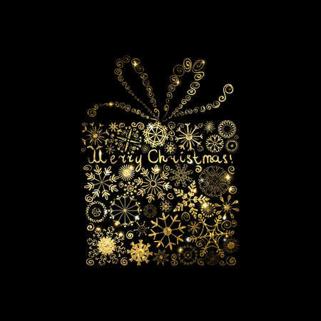 Shining gold texture Christmas gift box with snowflakes on black Background.