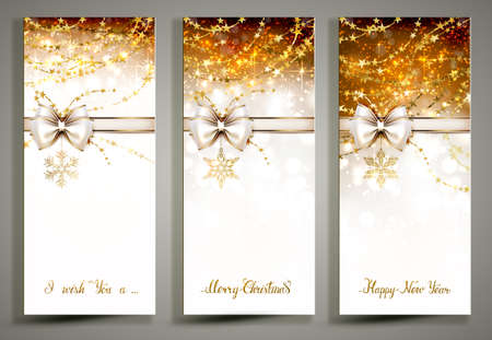 Three gold Christmas greeting cards with decorative snowflakes and white bow.