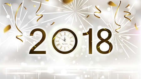 Holiday shine light Background with gold confetti, fireworks and festive date. New Year Midnight on the Clock 2018.