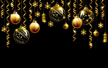 Glass Christmas evening balls on a black background. New year gold decorations with garlands.