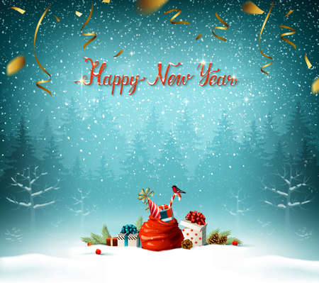 Happy New Year calligraphic red inscription. Santa clauses bag, presents with bow, candy, bullfinch in the blue winter forest on the Holiday background.