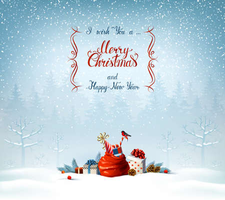 Merry Christmas and Happy New Year calligraphy inscription. Santa Clauses bag, presents, candy, bullfinch in the blue winter forest on the Holiday background. Illustration