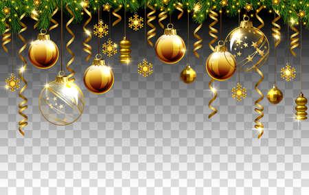 Glass Christmas evening balls on a transparent pattern. 向量圖像