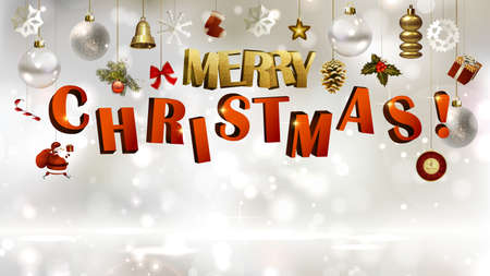 A light Christmas background with holiday baubles and letters.