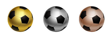 Three soccer football ball in gold, silver and bronze for first second and third sport awards, isolated on the white background vector illustration.