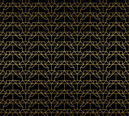 Abstract gold texture fashion seamless pattern. Geometric endless ornament on the black background.