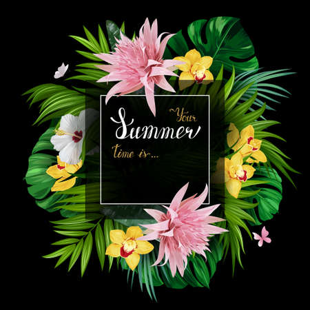 Holiday banner with green tropical palm, monstera leaves, pink Aechmea, Hibiscuses and yellow Orchids blooming flowers on the black background. White and gold texture lettering on the summer poster. Illustration