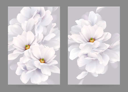 Set of two invitation or congratulation cards with elegant flower composition. Blooming white magnolias formed composition on the gray backgrounds. 向量圖像