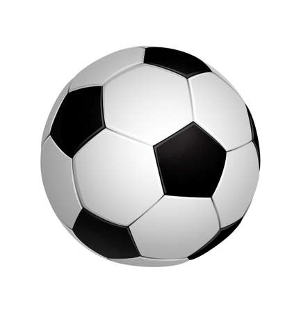 White and black soccer football ball isolated on the white background. Vector illustration.
