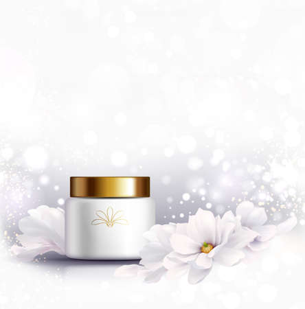 Cosmetic bottle for natural cream. White jar and gold glossy lid with white beautiful Magnolias flowers on the light gray background for ads. Illustration