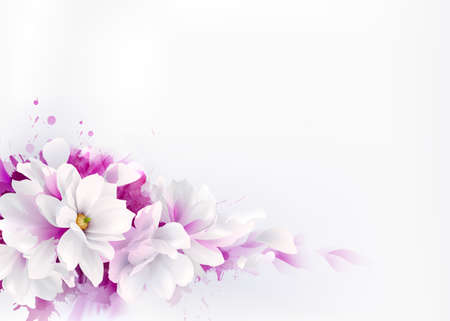 Illustration of white beautiful magnolias, spring elegant flowers depicted on the watercolor lilac background. Illustration