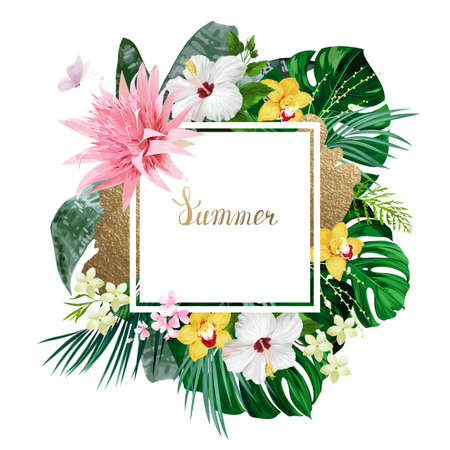 Holiday banner with green tropical palm, monstera leaves, pink Aechmea, Hibiscuses and yellow Orchids blooming flowers on the white background. Summer poster for message.