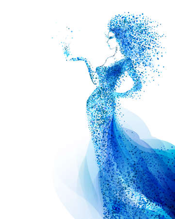 Blue decorative composition with girl on the white background. Cyan particles formed abstract woman figure.