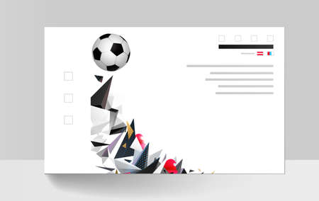 White and black soccer football with geometric abstract sport background. Modern polygonal triangles and colored shapes for creative banner template.